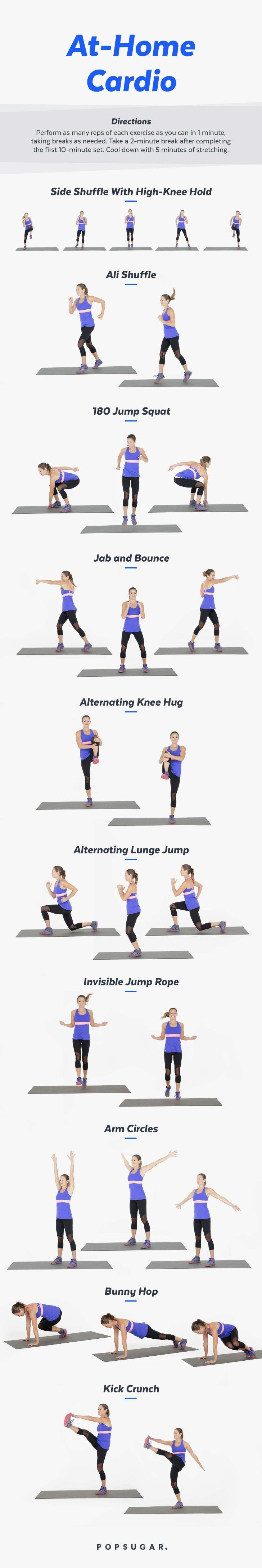 Printable At-Home Cardio Workout | Cardio workouts, Cardio and Workout