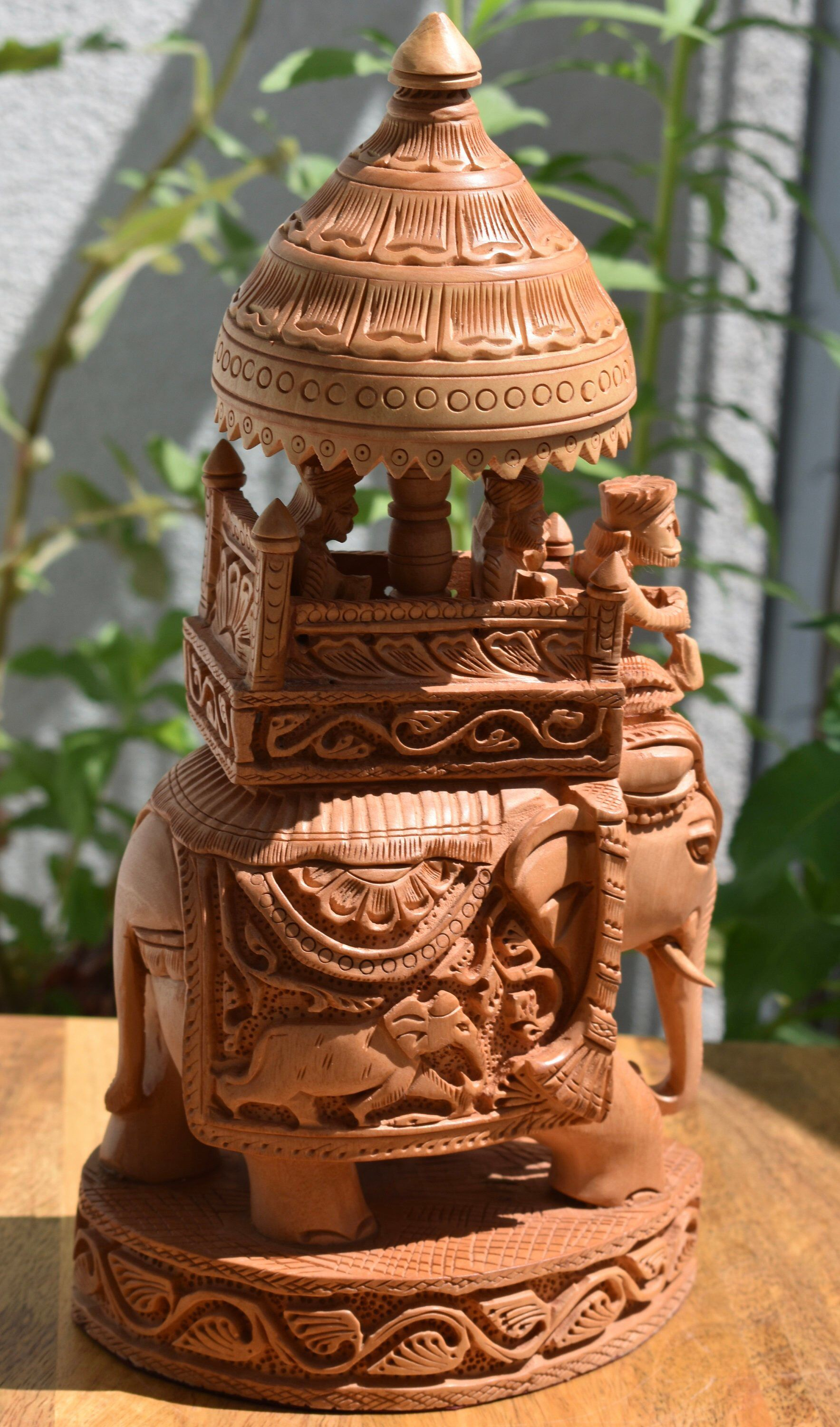 Wooden carved Elephant with ride , indian handicraft, gift
