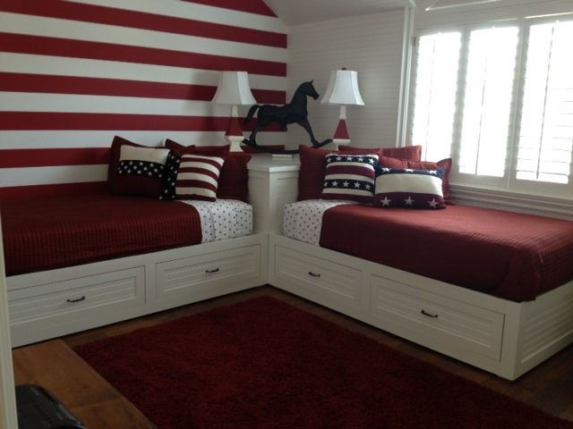 2 corner beds custom wood furniture orange county custom for Small room with two beds