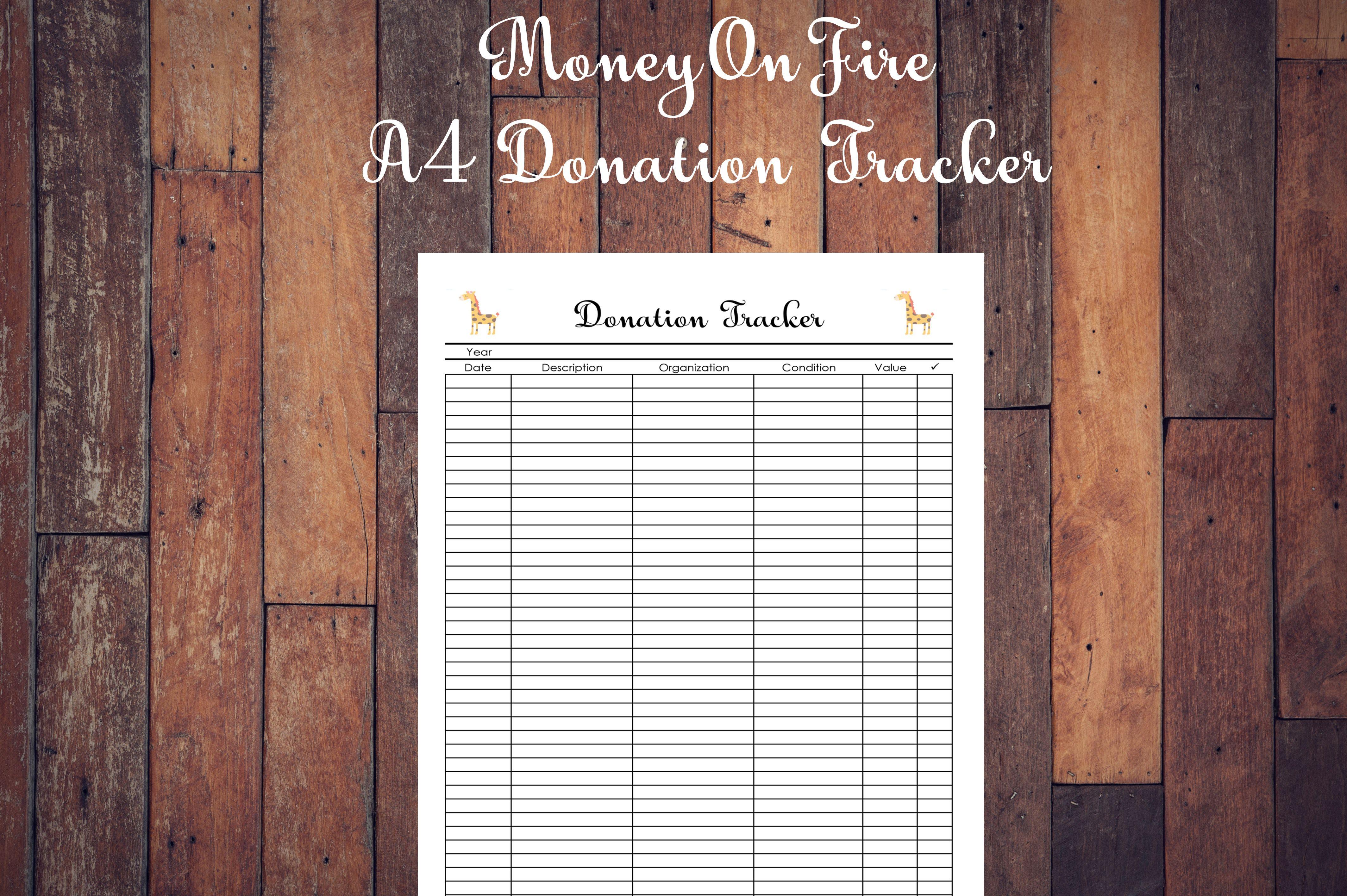 Donation Tracker Printable Etsyshop Etsyseller