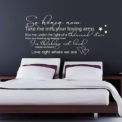 Ed sheeran thinking out loud lyrics vinyl wall sticker decal transfer