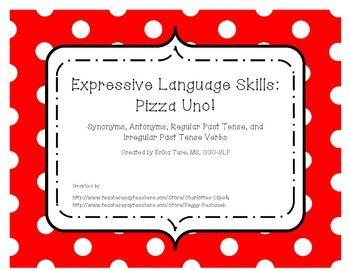 An Uno Like Game Utilizing Synonyms Antonyms Regular Irregular Past Tense Verbs Speech And Language Expressive Language Speech Therapy Games