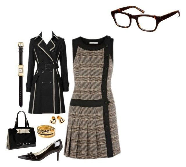 """Lois Lane: Working Lunch with Clark"" by riley5 ❤ liked on Polyvore featuring Nine West, Ted Baker, Karen Millen, Kate Spade, Hillier London, Warby Parker, vintage inspired, office, fictional date and superhero"