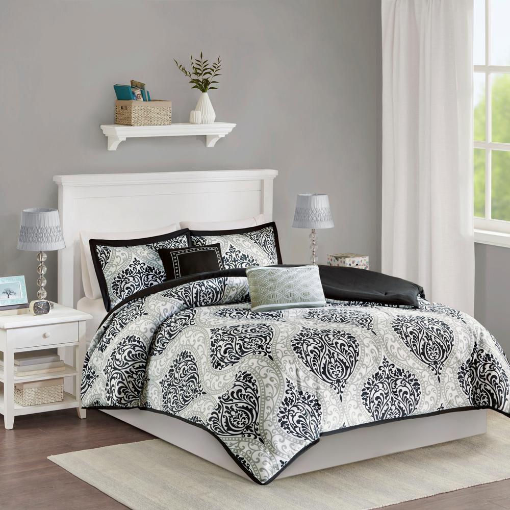 Intelligent Design Sabrina 5 Piece Black King Comforter Set Comforter Sets Duvet Cover Sets King Duvet Cover Sets
