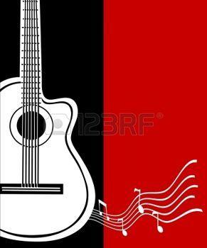 Guitarra clásica vector. Tarjeta de felicitación musical. Foto.