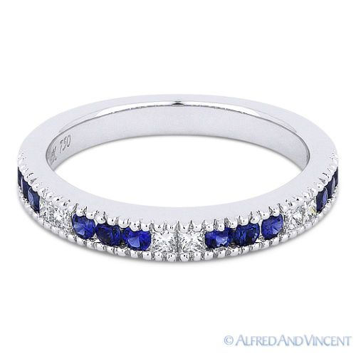 The featured ring is cast in 18k white gold and showcases 12 round cut sapphires & 6 princess cut diamonds set in milgrain-edged channel settings.