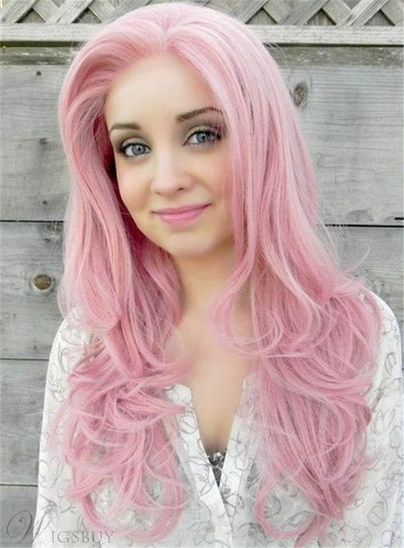Cute Youthful Long Pink Straight Synthetic Hair Lace Front