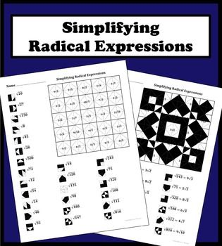 Simplifying Radical Expressions Color Worksheet With Images