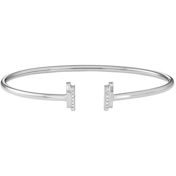 Sterling Silver 1/10 Carat T.W. Diamond Cuff Bracelet (215 CAD) ❤ liked on Polyvore featuring jewelry, bracelets, white, hinged cuff bracelet, bangle cuff bracelet, sterling silver bangles, sterling silver jewellery and sterling silver jewelry