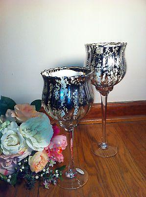 Large Silver Mercury Gl Chalice Candle Cup Holder Wedding Centerpiece Vase Ebay