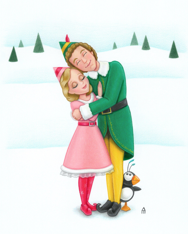 Elf Buddy Jovie Illustration Art Print Etsy Elf Drawings Art Art Prints