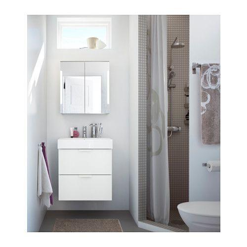 STORJORM Spiegelschrank m 2 Türen+int Bel, weiß Mirror - badezimmer spiegelschrank ikea