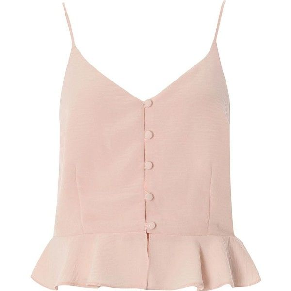 4d7bcf77772d7 River Island Light pink peplum hem button front cami top (€33) ❤ liked on Polyvore  featuring tops