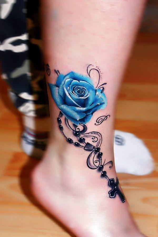 Tatouage Rose Bleu Femme Avec Chapelet Et Croix Sur Cheville Tattoo
