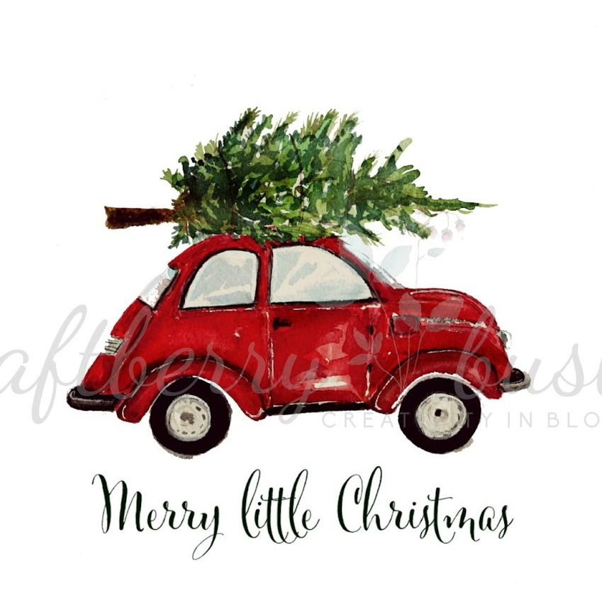 Red Christmas Buggy Printable 48 Hours Only Christmas Watercolor Merry Little Christmas Red Christmas