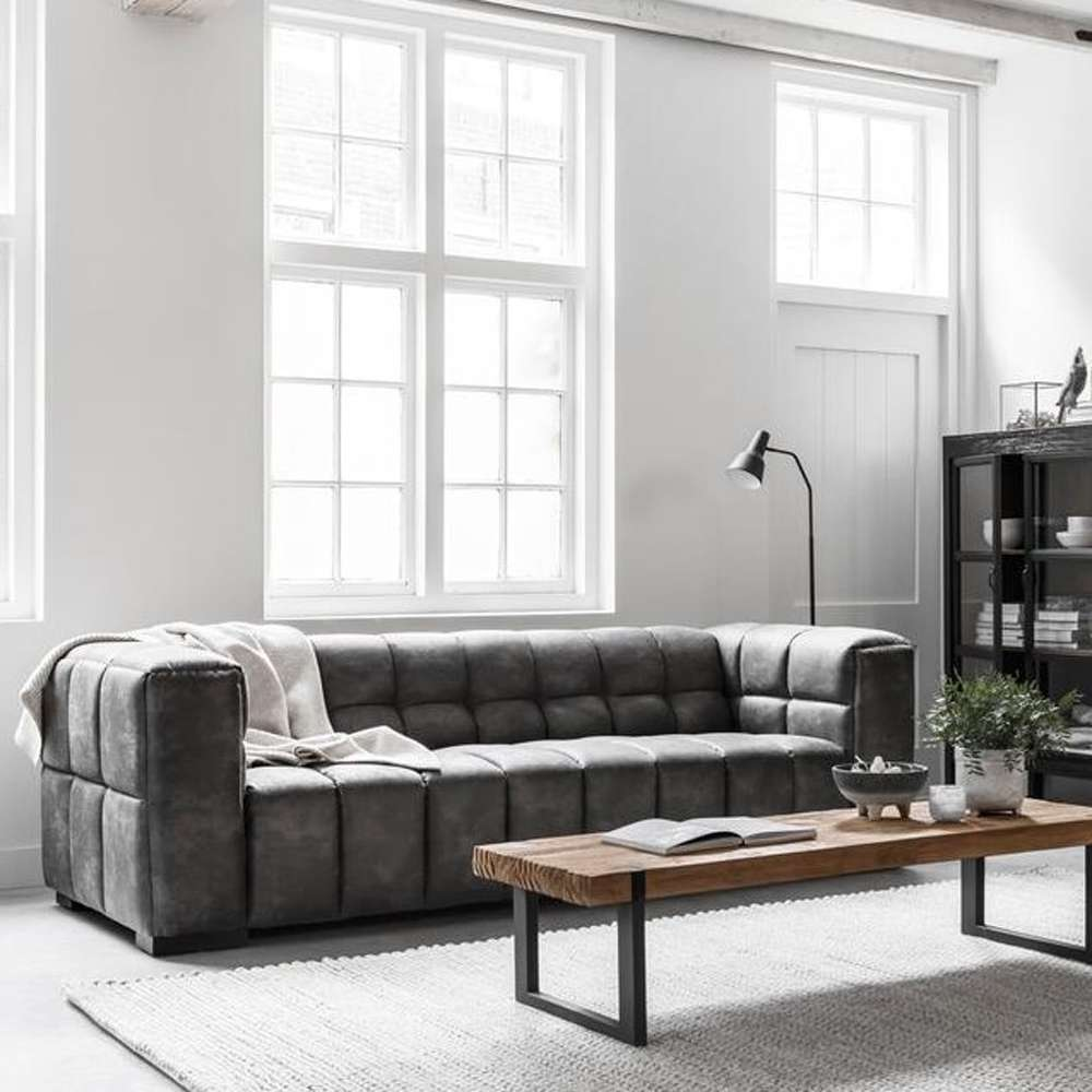Must Living 3 Sitzer Sofa Waves Leder Kohlegrau Lounge Couch Garnitur 3 Sitzer Sofa Haus Deko Sofa