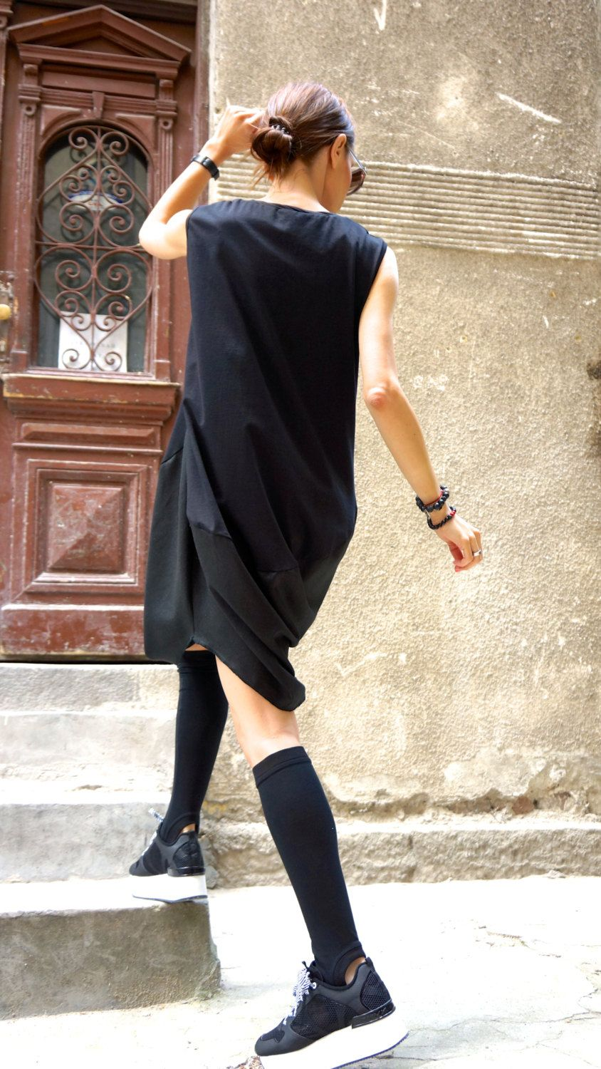 New COLLECTION Oversize Black Loose Casual Top / Linen от Aakasha