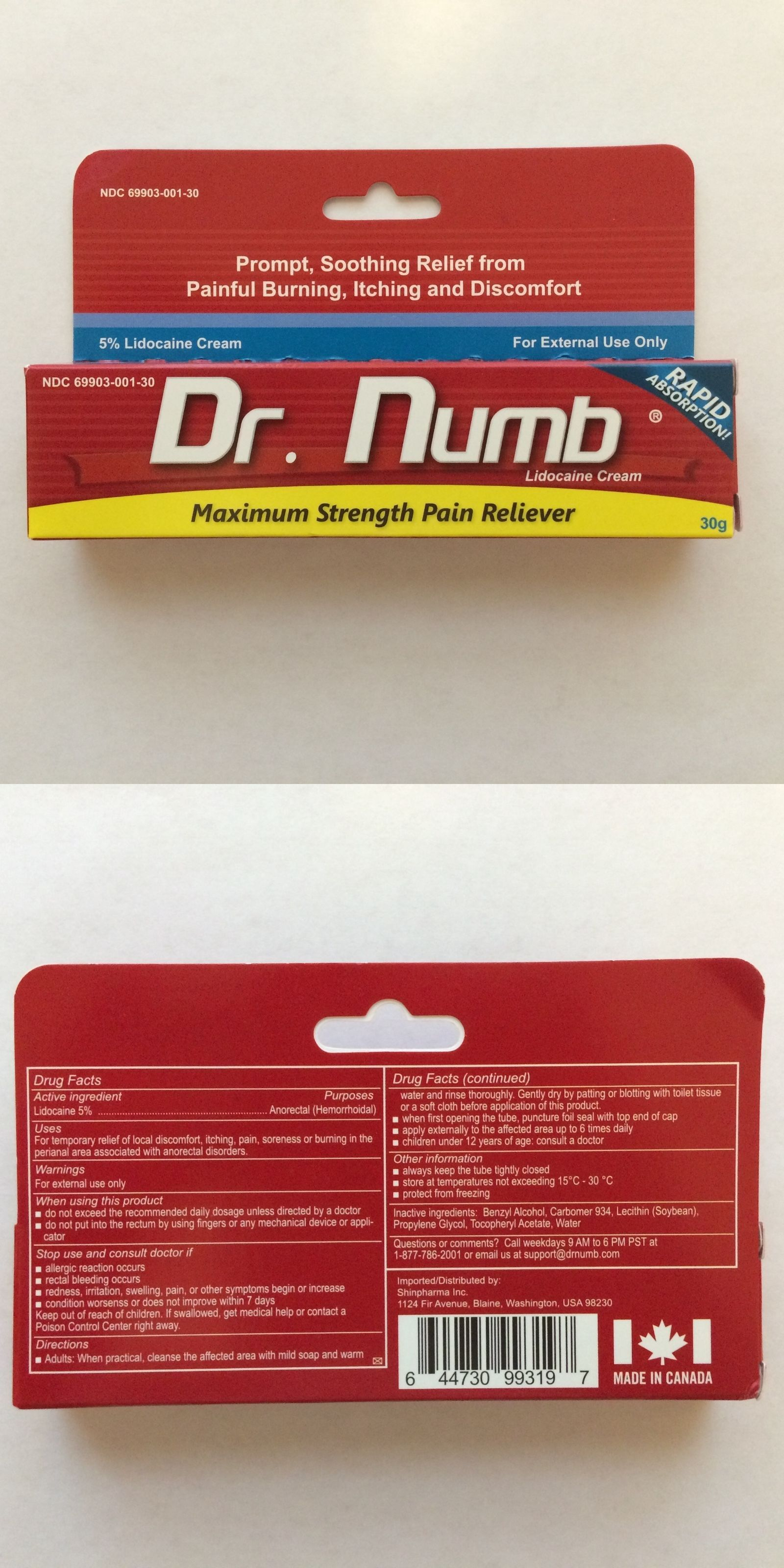 Dr Numb 5% Lidocaine Cream 30 gr Skin Numbing Tattoo/Removal Waxing ...