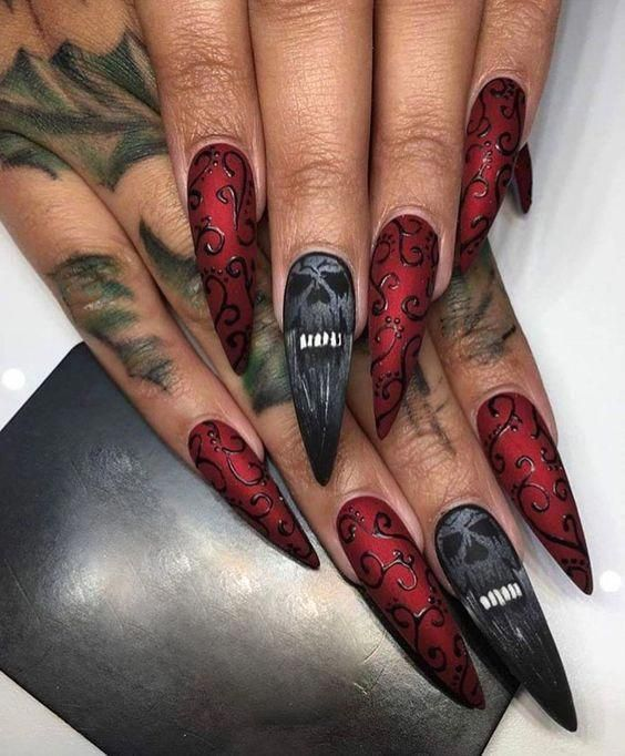 Unique and creative Halloween nail design acrylic ...