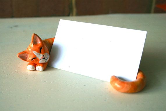 Clay cat business card holder customized pinterest business card clay cat business card holder customized by lilijane on etsy colourmoves