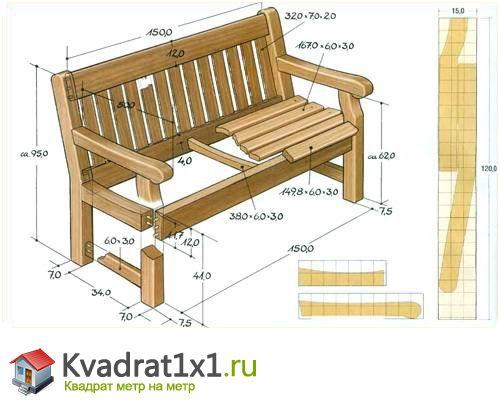 Скамейка из дерева своими руками чертежи