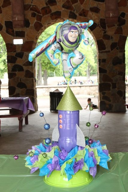 i made these centerpieces to go with the rocket buzz lightyear theme rh pinterest com