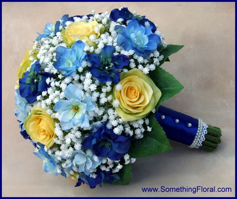 A Realistic Silk Artificial Yellow Blue And White Bridal Bouquet Created By Something Spectacular Fl In Warren Mi For Bride New