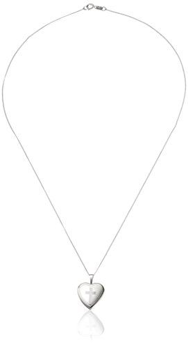 Momento Lockets Sterling Silver Heart Shaped Locket with Cross Necklace * Read more reviews of the product by visiting the link on the image.