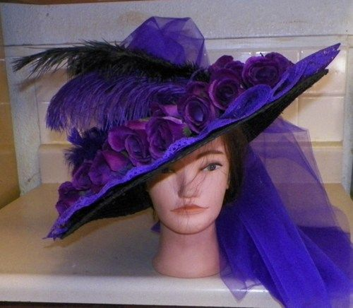 Victorian Tea Dresses and Hats | New Edwardian Titanic Victorian Tea Church Ladies Hat Purple ...
