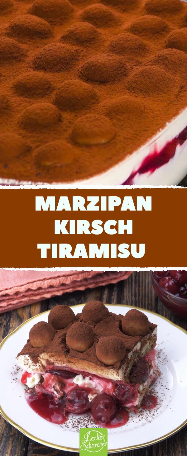 Dieses Rezept macht den Dessert - Klassiker mit Marzipan und Kirschen. Der cremige Nachtisch ist durch die Marzipankartoffeln auch perfekt für das Weihnachts-Menü. #tiramisu #rezept #selbermachen #einfachernachtisch