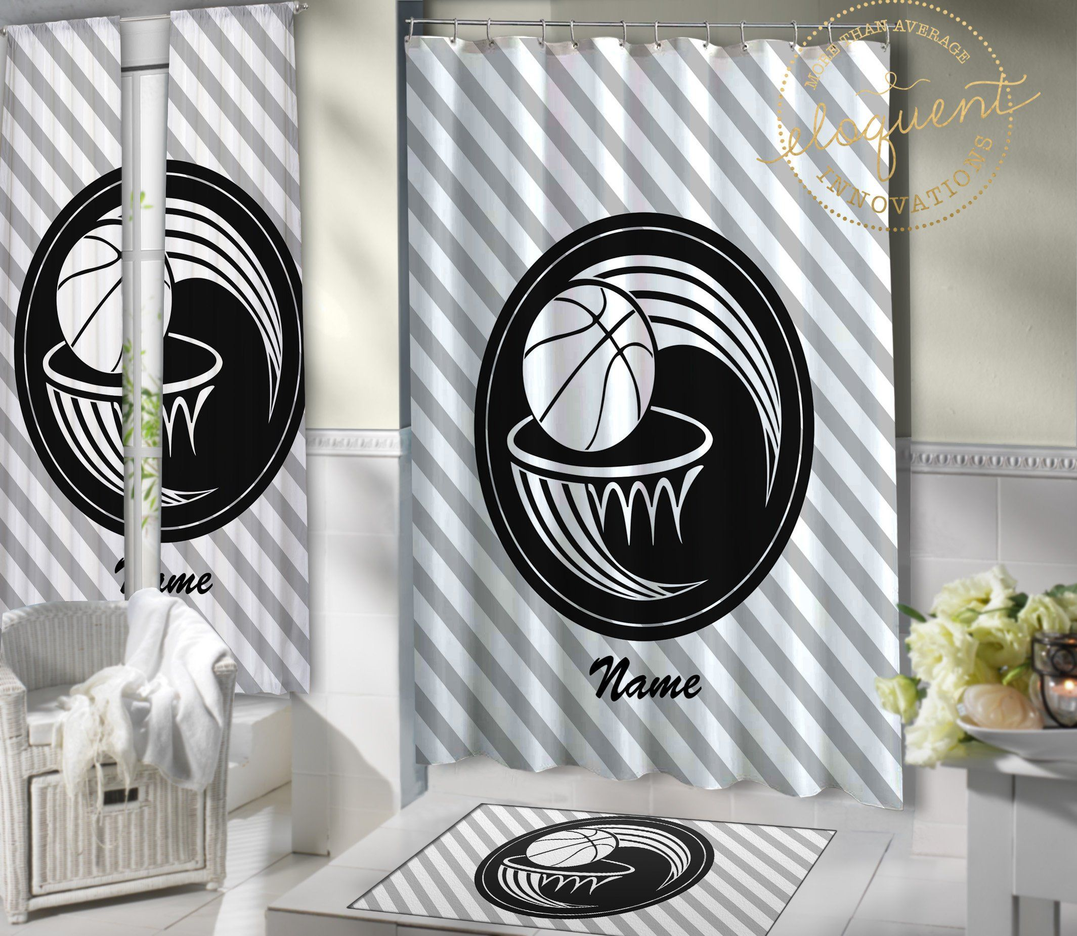 Basketball Shower Curtains For Boys Or Girls Kids Personalized