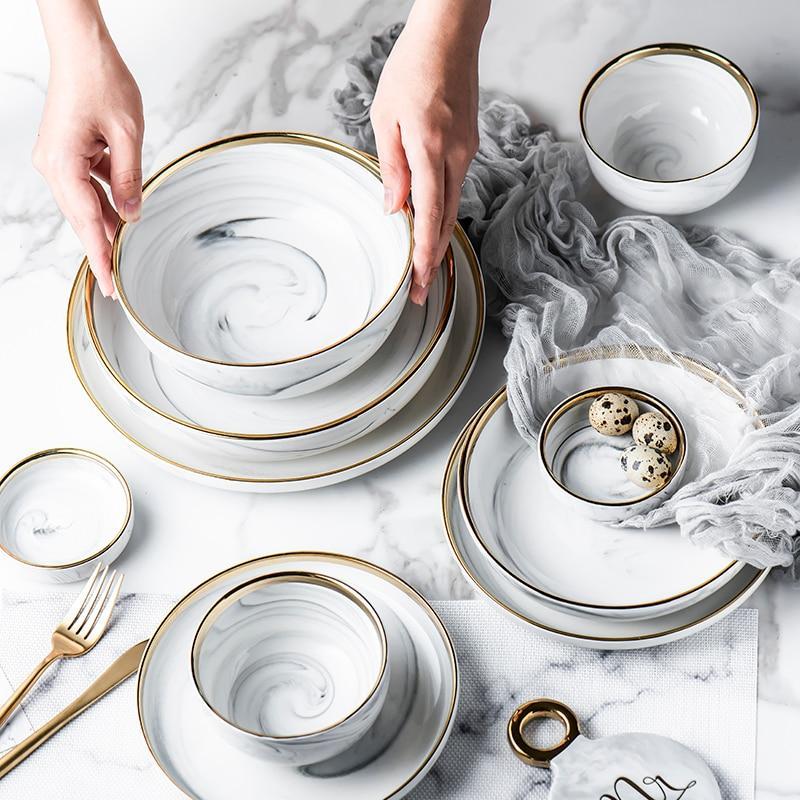 Glod Marble Ceramic Plate In 2020 Marble Plates Marble Ceramics Tableware Design