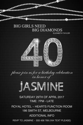 40th Birthday Party Invitation Diamonds 40 Year Old