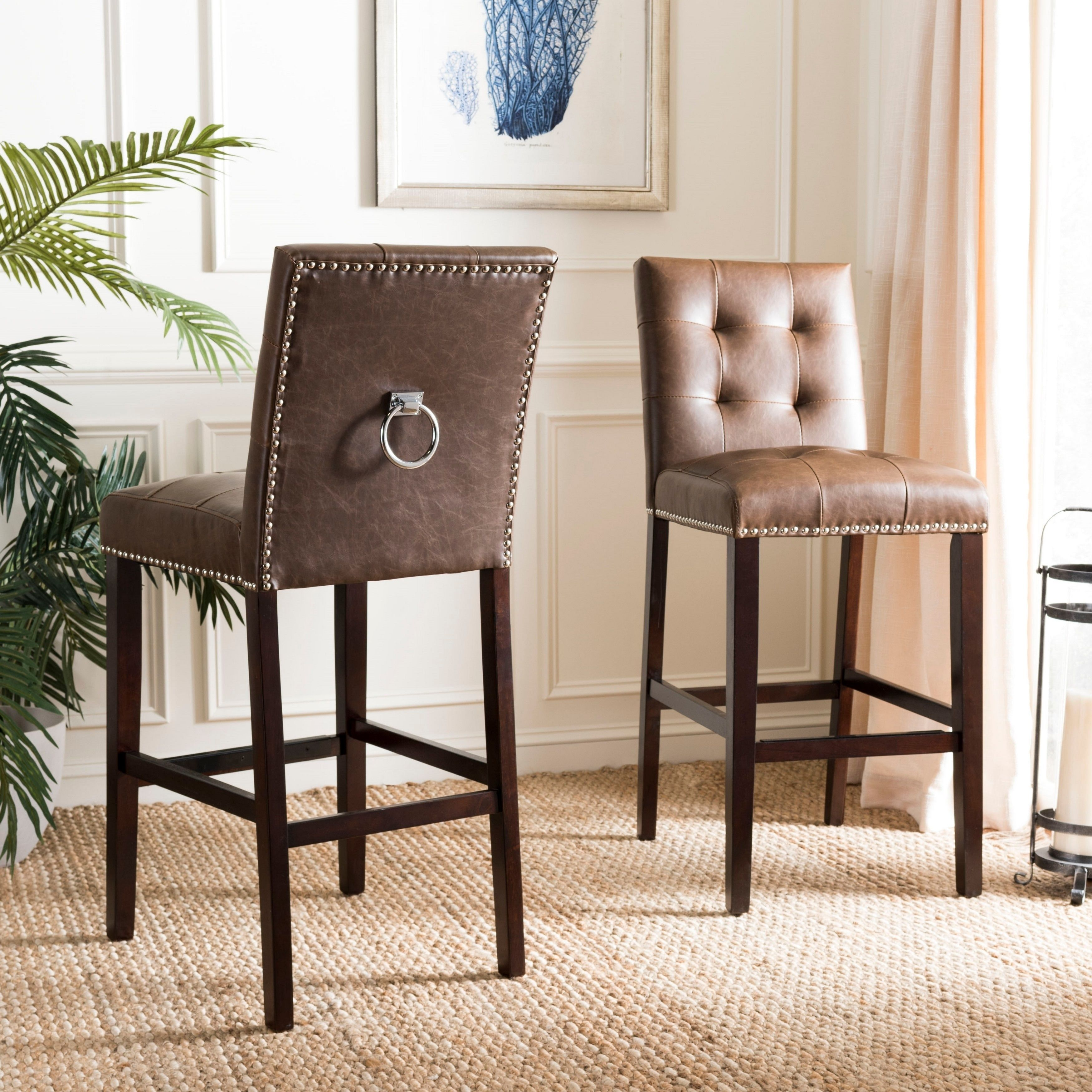 Super Safavieh 30 5 Nikita Bar Stool Brown Espresso Set Of 2 Creativecarmelina Interior Chair Design Creativecarmelinacom