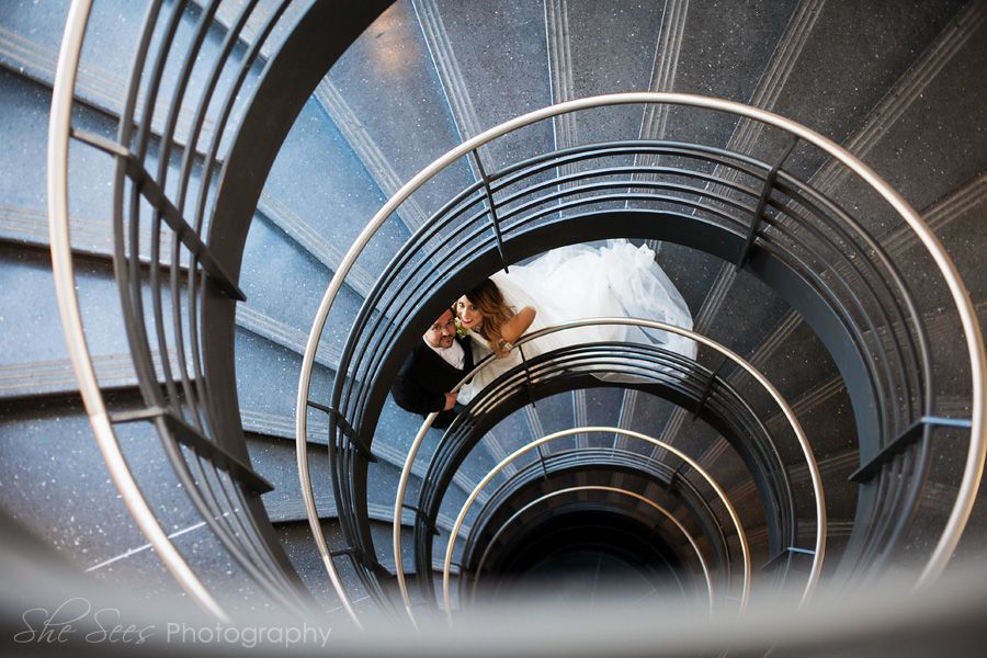 Bride And Groom On Spiral Staircase, Chicago.