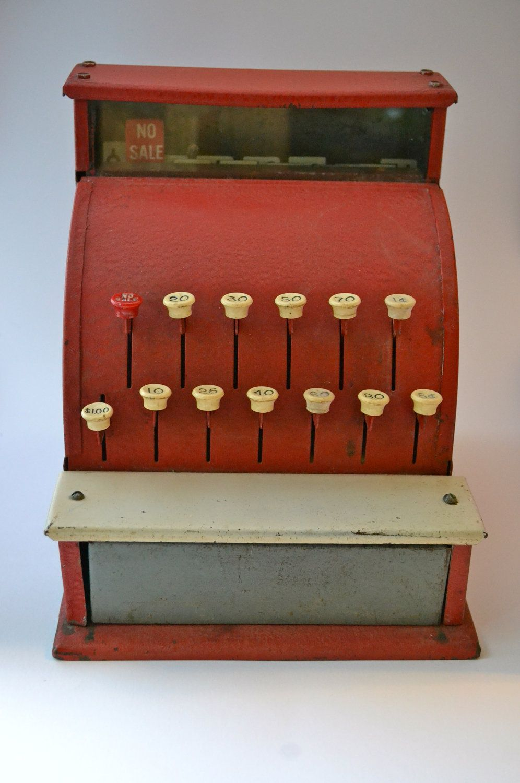 Vintage Toy Cash Register--Red. $50.00, via Etsy. Cool decor item #vintagetoys