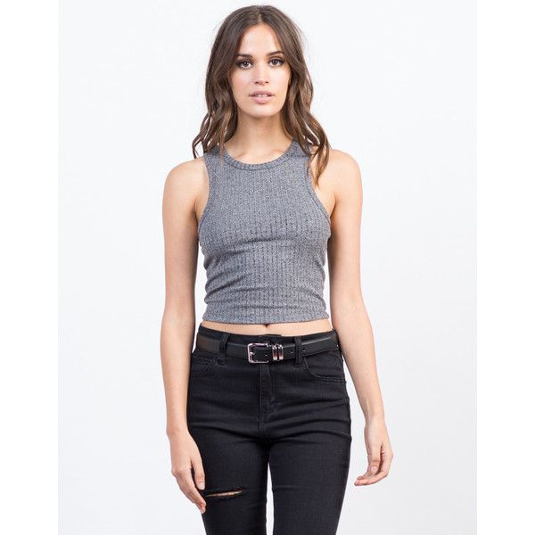 Cropped Rib Top ($8) ❤ liked on Polyvore featuring tops, racerback top, sleeveless tops, bozzolo tops, ribbed top and layered crop top