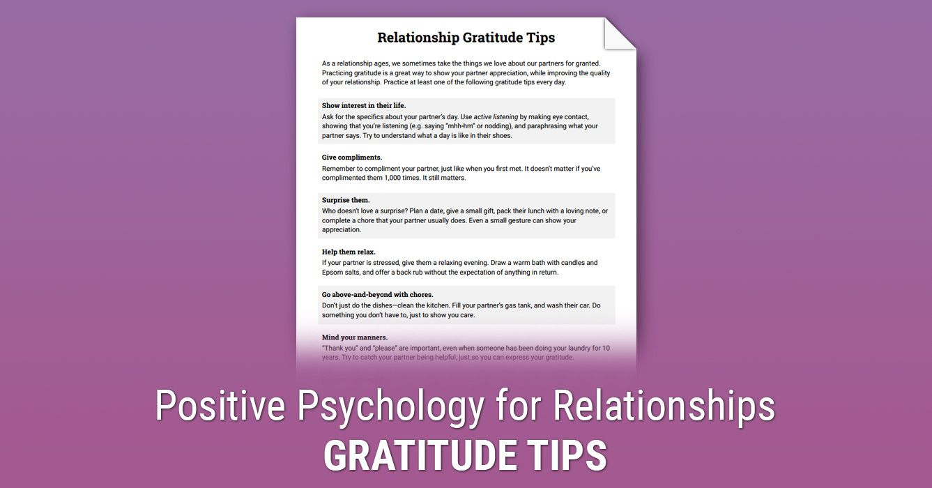 Relationship Gratitude Tips Worksheet Therapist Aid Therapy Worksheets Positive Psychology Relationship