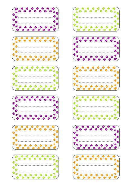 Fabuleux étiquettes petits pas pour cahier et livres d'école en PDF format  IR58