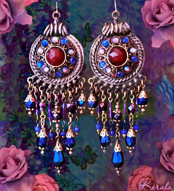 Metallic Blue and Purple Crystal Bohemian Gypsy Earrings, Moroccan ...