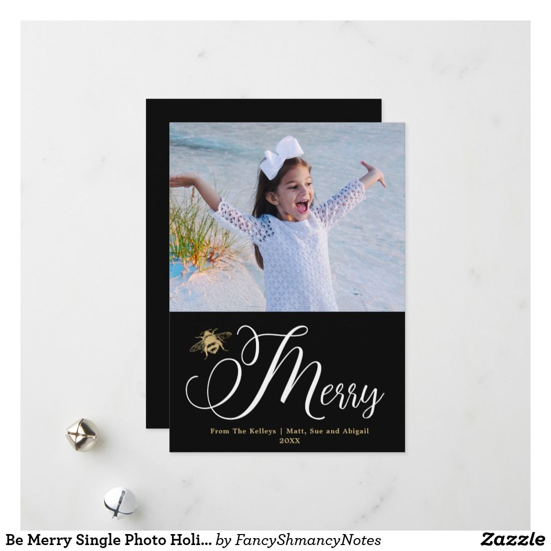 Be merry single photo holiday card black and gold