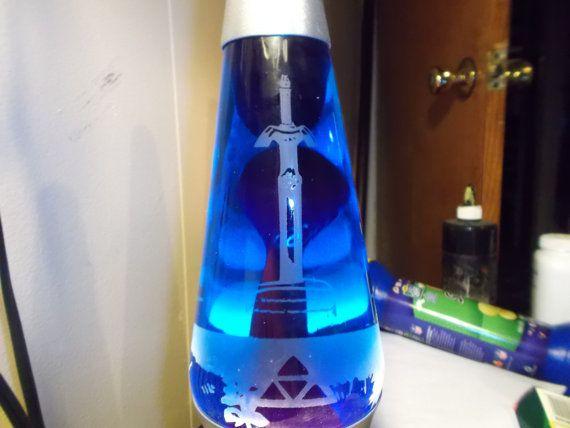 Master Sword Etched Lava Lamp Fan Art Blue Liquid Green Lava