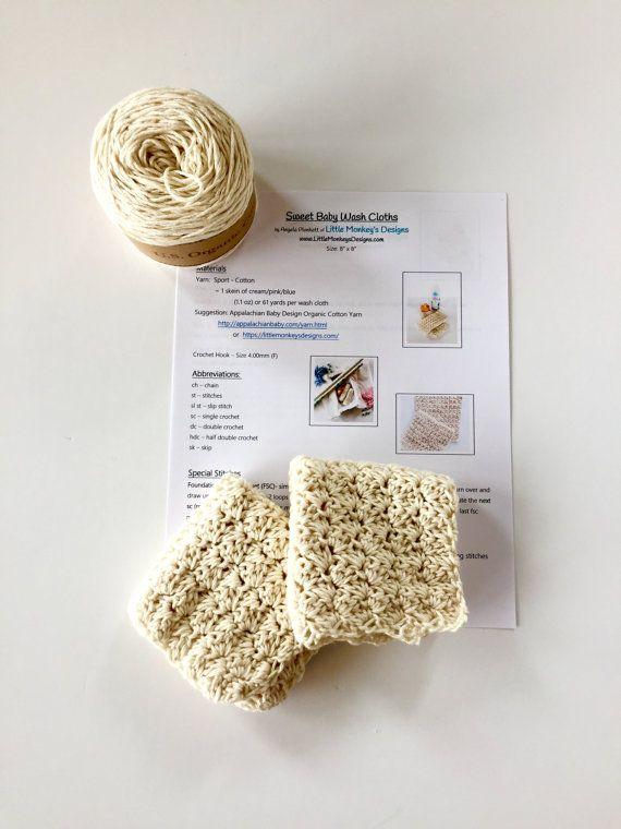 Crochet Kit Baby Washcloths Organic Cotton Yarn Crochet Kit Baby