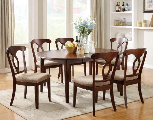 709 3f7102991pg Nessie Cherry Finish Oval Dining Table 6 Chairs Furniture2go