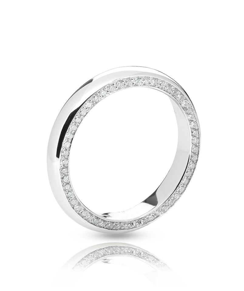 7aaec7c1fa74 Обручальное кольцо Aurora с оригинальными бриллиантовыми дорожками,  закрепленными в торцах кольца. Выполнено в белом
