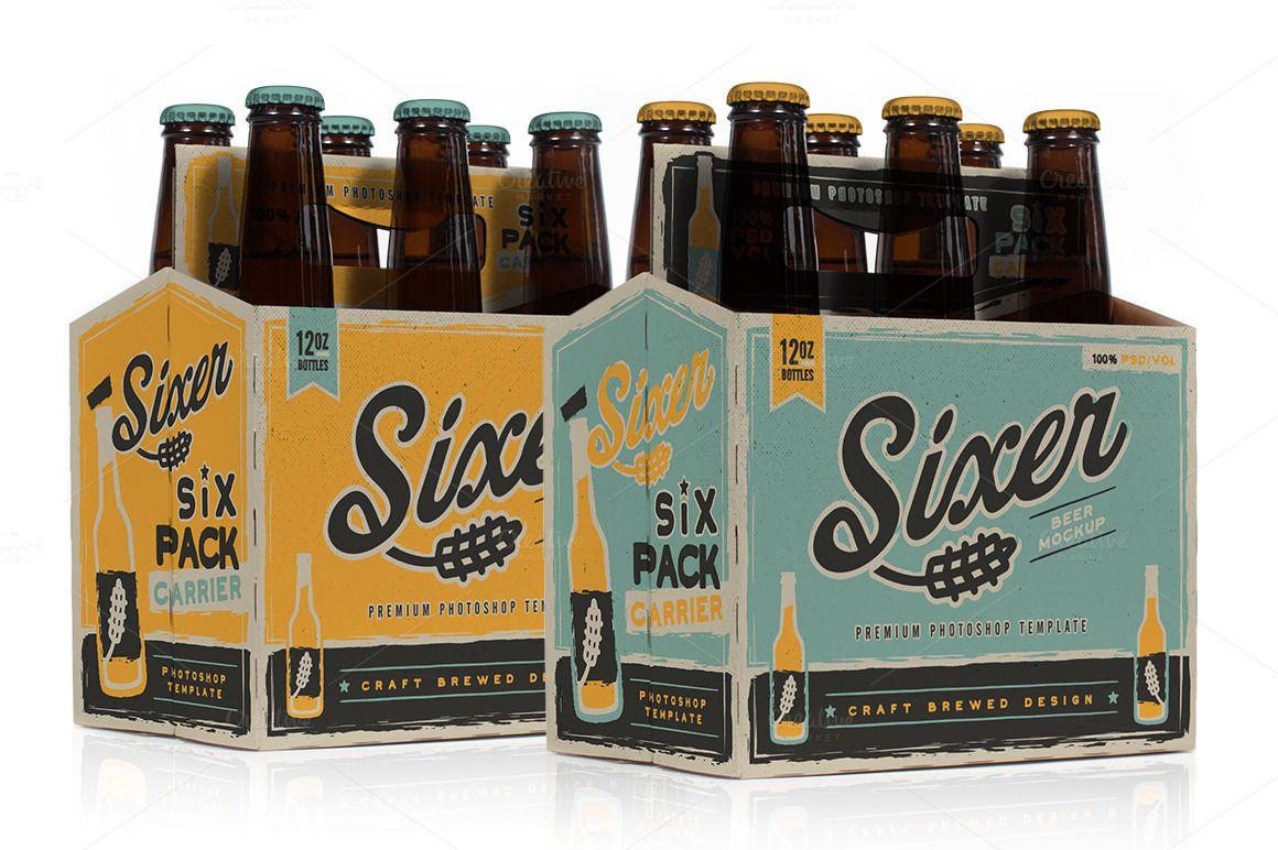 Six Pack Beer Bottle Carrier Mock Up Product Mockups 3 Beer