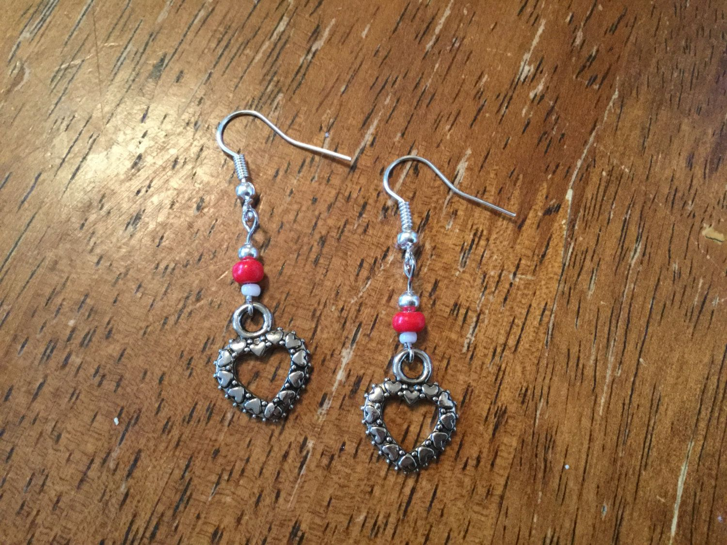Handmade Beaded Earrings - Metal Hollow Hearts with Small Multi-Heart Shaped Border, Red and White Glass Beads by cemFLORAL on Etsy