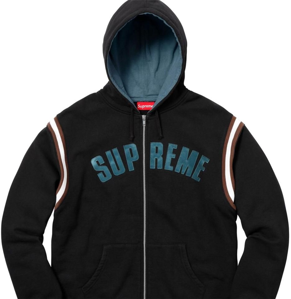 Supreme Black Jet Sleeve Zip Sweatshirt Hoodie Size 8 M Sweatshirts Hoodie Sweatshirts Zip Sweatshirt [ 960 x 935 Pixel ]