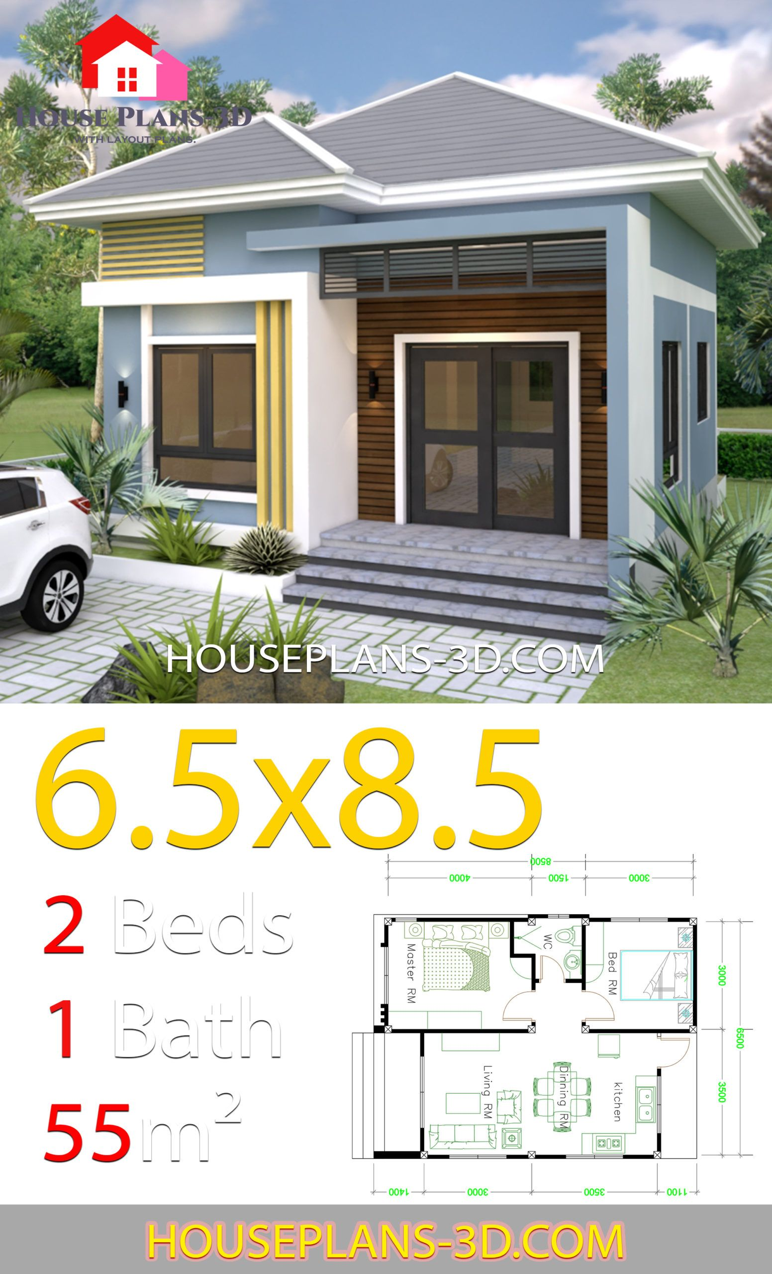 Small House Design 6 5x8 5 With 2 Bedrooms Hip Roof House Plans 3d In 2020 Small House Design Small House Plans Simple House Design