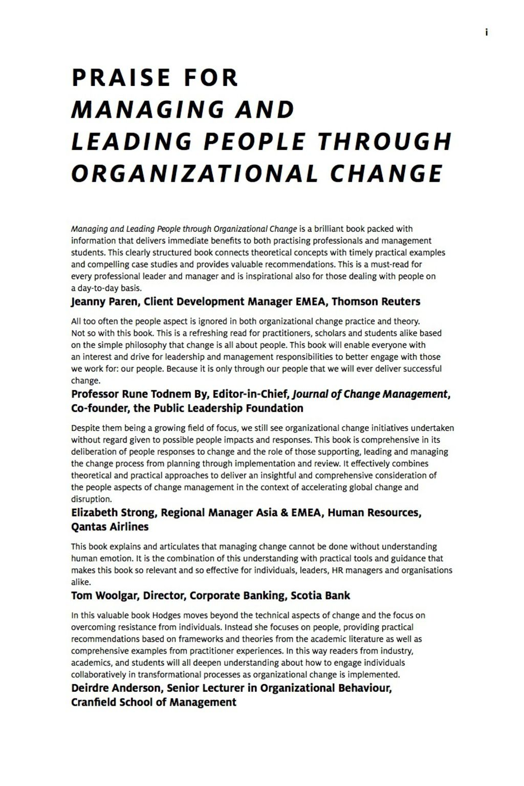 Managing And Leading People Through Organizational Change The